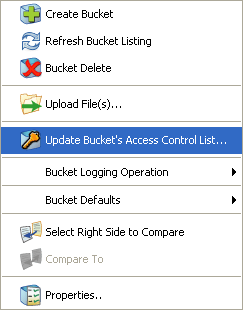 update amazon s3 acl option on right click menu of bucket